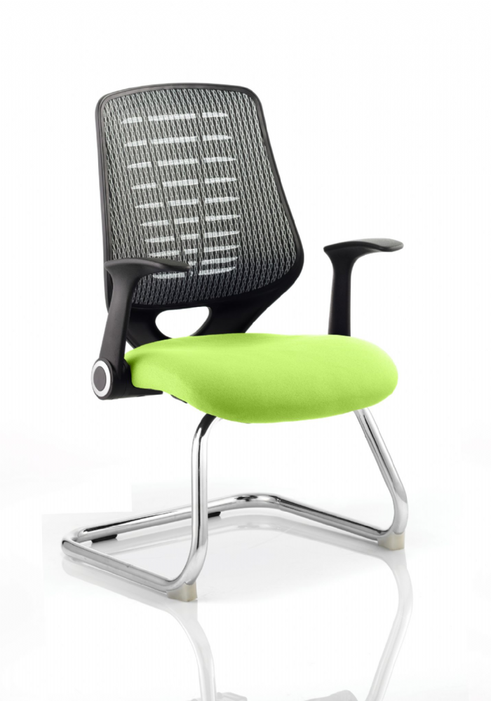 Relay Cantilever Meeting Chair Folding Arms Chrome Frame Silver Mesh Back Seat Pad choice of Colours